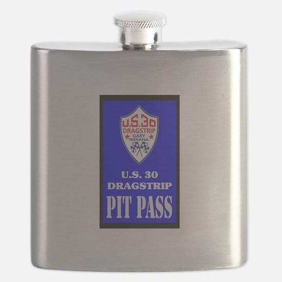 U S 30 Dragstrip Pit Pass Flask