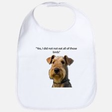 Guilty Airedale Ate the Birds but denies it Bib