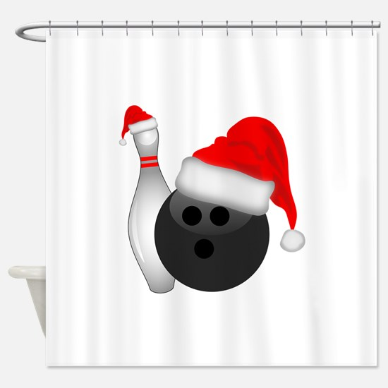 Christmas Bowling Shower Curtain