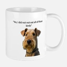 Guilty Airedale Ate the Birds but denies it Mugs