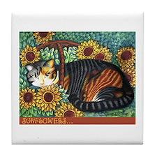 Unique Sunflower and cats Tile Coaster
