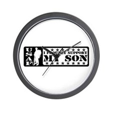 Proudly Support Son - USAF Wall Clock