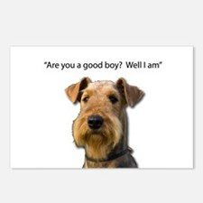 Confident Airedale Knows Postcards (Package of 8)