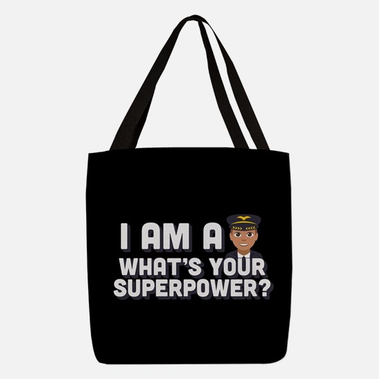 Emoji Pilot Superpower Polyester Tote Bag