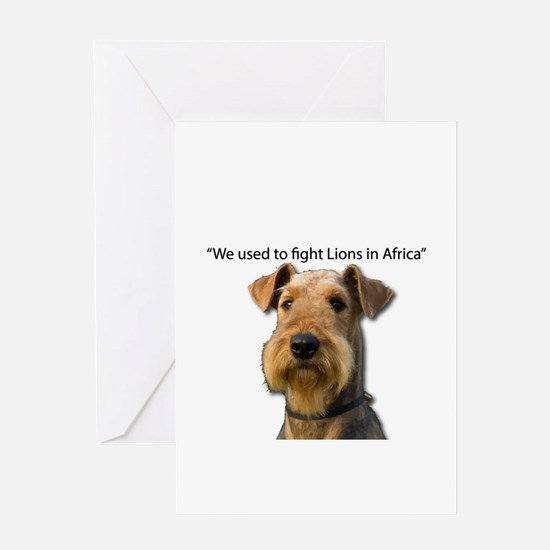 Airedales used to Fight Lions in Af Greeting Cards