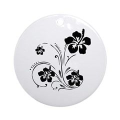 Illustrated Graphic Flower Ornament (Round)