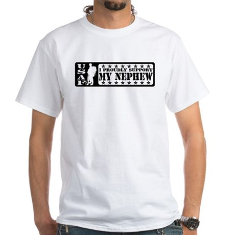 Proudly Support Nephew - USAF White T-Shirt