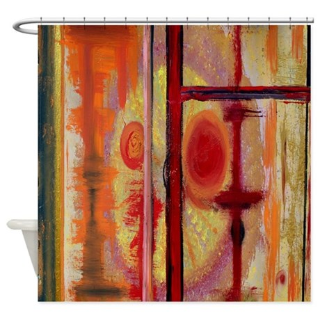 Abstract Earth Tone Shower Curtain