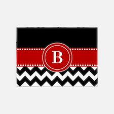 Red Black Chevron Personalized 5'x7'Area Rug
