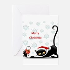 Funny Black cat falling snow Greeting Cards (Pk of 20)