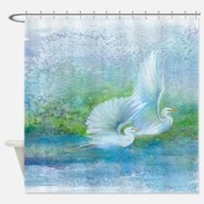 Egrets Fly Together Shower Curtain
