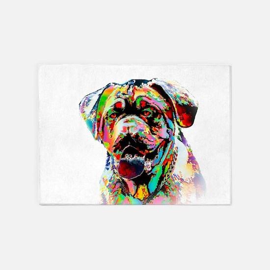 Colorful Bulldog 5'x7'Area Rug