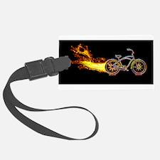 Bike flame orange Luggage Tag