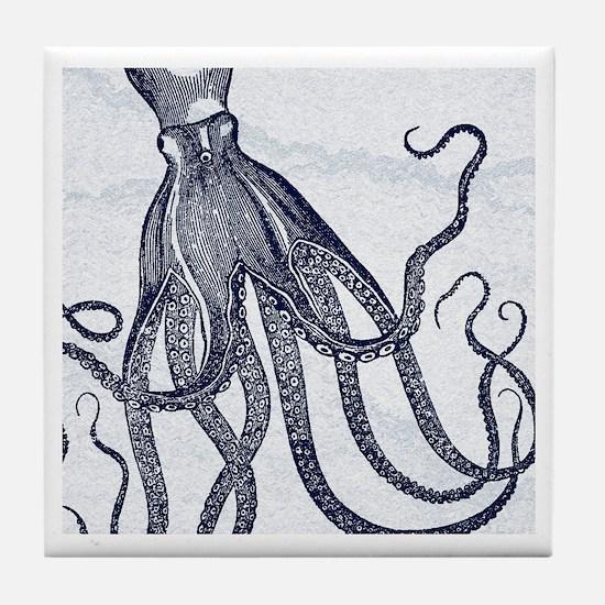 Vintage Octopus in Dark Blue with Marbling Backgro