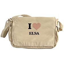 I love Elsa (heart made from words) Messenger Bag