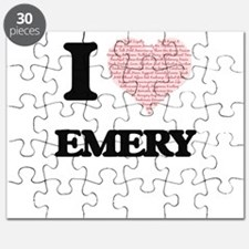 I love Emery (heart made from words) design Puzzle