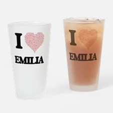 I love Emilia (heart made from word Drinking Glass