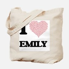 I love Emily (heart made from words) desi Tote Bag