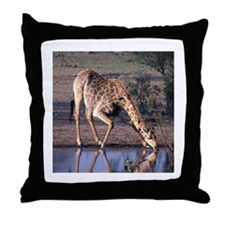 GIRAFFE AT WATERHOLE - Throw Pillow