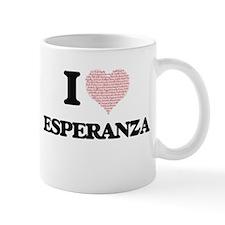 I love Esperanza (heart made from words) desi Mugs