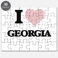 I love Georgia (heart made from words) desi Puzzle