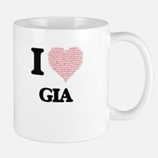 I love Gia (heart made from words) design Mugs