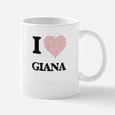 I love Giana (heart made from words) design Mugs