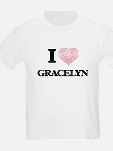 I love Gracelyn (heart made from words) de T-Shirt