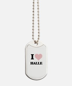 I love Halle (heart made from words) desi Dog Tags