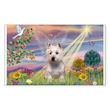 Cloud Angel West Highland Ter Sticker (Rectangular