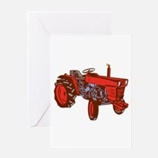Vintage Farm Tractor Side Woodcut Greeting Cards