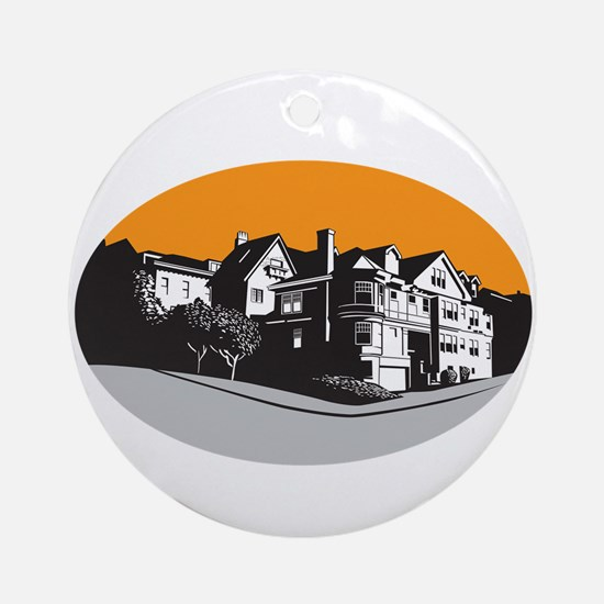 American Mansion House Oval WPA Round Ornament