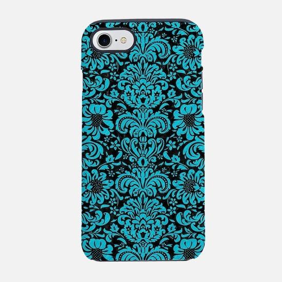 DAMASK2 BLACK MARBLE & TURQU iPhone 8/7 Tough Case