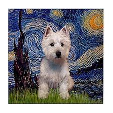 Starry Night & West Hightland Tile Coaster