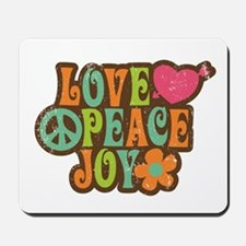 Love Peace Joy Retro Vintage 1970s Mousepad