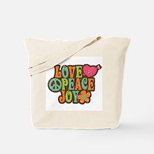 Love Peace Joy Retro Vintage 1970s Tote Bag