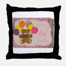 Girl 3rd Birthday Throw Pillow