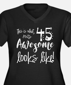 Awesome 45 Y Women's Plus Size V-Neck Dark T-Shirt