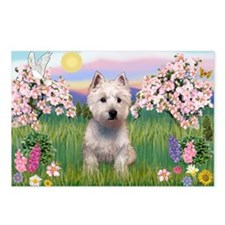 Blossoms & West Highland Terr Postcards (Package o