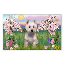Blossoms & West Highland Terr Sticker (Rectangular