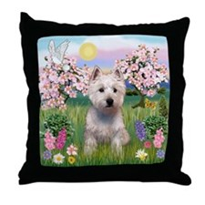 Blossoms & West Highland Terr Throw Pillow
