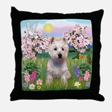 Blossoms & West Highland Terr Throw Pillow