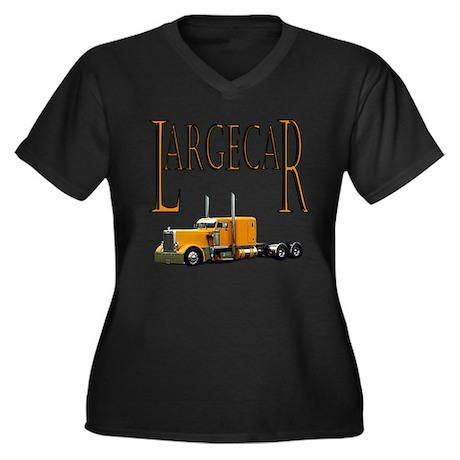 Largecar Women's Plus Size V-Neck Dark T-Shirt
