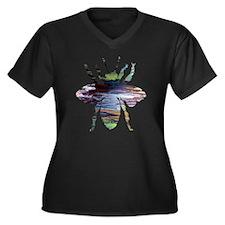 Unique Bee art Women's Plus Size V-Neck Dark T-Shirt