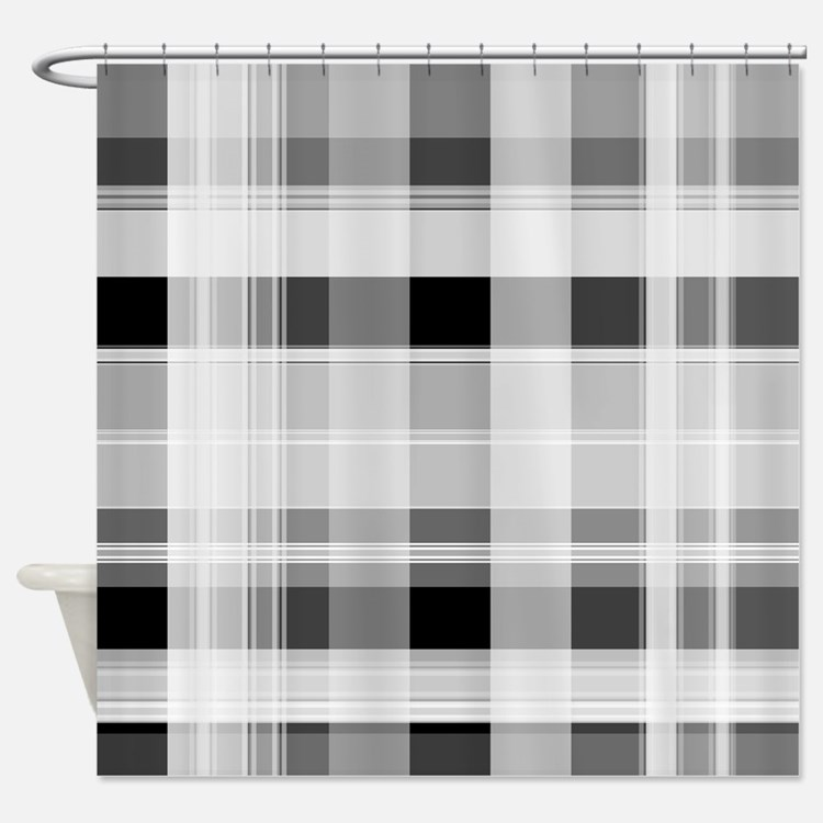 Grey Plaid Shower Curtains