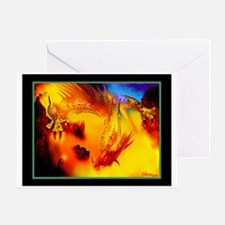 RAINBOW DRAGON WITH HOBBIT - Greeting Card