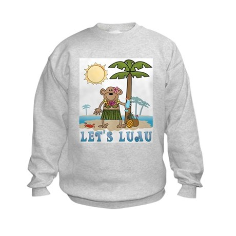 Lets Luau Girl Monkey Kids Sweatshirt