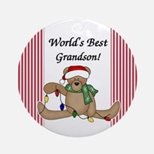 Bear World's Best Grandson Ornament (Round)