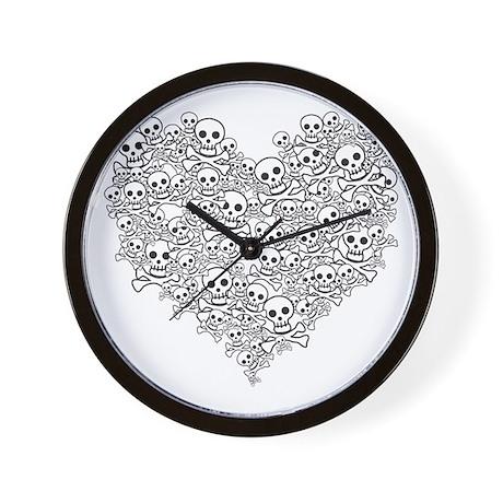 Skull Heart Wall Clock