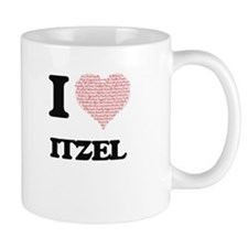 I love Itzel (heart made from words) design Mugs